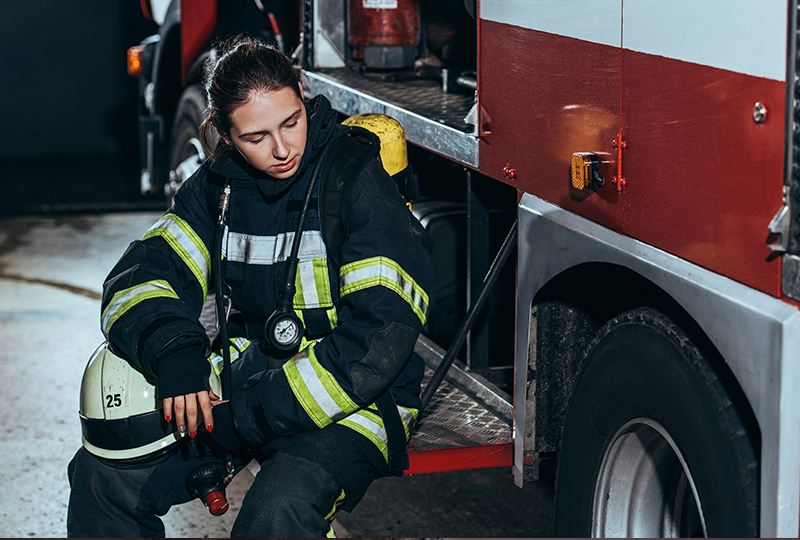 Tired Female Firefighter - first responder